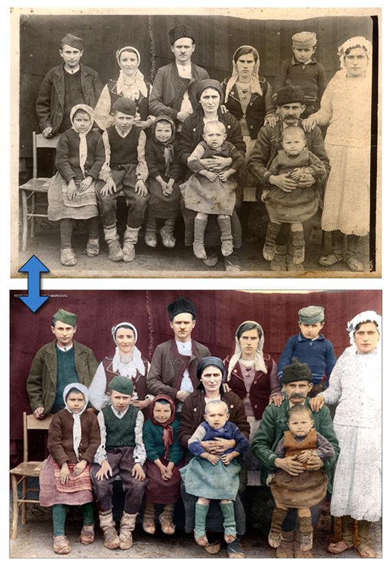 Bojenje crno belih fotografija sa popravkom oštećenja. Kolorizacija starih slika. Konverzija crno belih slika u kolor verziju. Popravka fotografija.