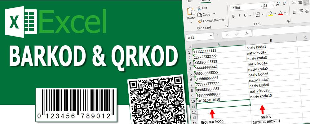 excel bar kod - qr kod je nova mogućnost u štampanju vaših kodova. Umesto dosadašnjeg prekucavanja kodova sada možemo automatizovati proces.